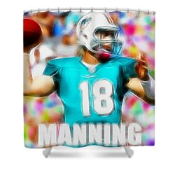 Magical Peyton Manning Miami Dolphins Shower Curtain by Paul Van Scott
