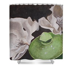 Magnolias With Green Sugar Bowl Shower Curtain
