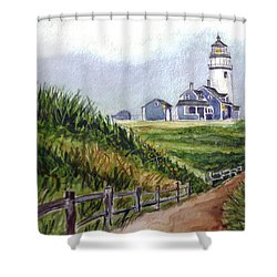 Shower Curtain featuring the painting Maine Light by Clara Sue Beym