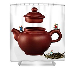 Making Green Tea On A Clay Teapot Shower Curtain by Paul Ge