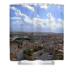 Malta Panoramic View Of Valletta  Shower Curtain by Guy Viner