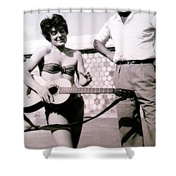 Mama Chris And Gary Cooper In Monte Carlo 1958 Shower Curtain by Colette V Hera  Guggenheim
