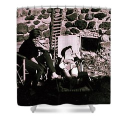 Mamma Chris And Colette Having A Well Deserved Rest  Siesta In The Garden In Alba France  Shower Curtain by Colette V Hera  Guggenheim