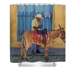 Shower Curtain featuring the photograph Man And A Donkey by Lynn Bolt