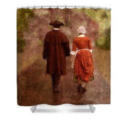 Man And Woman In 18th Century Clothing Walking Shower Curtain by Jill Battaglia