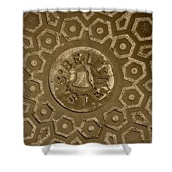 Man Hole Cover For Ma Bell Shower Curtain by Kym Backland