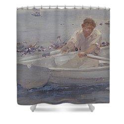 Man In A Rowing Boat Shower Curtain by Henry Scott Tuke