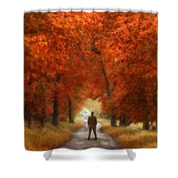 Man In Suit On Rural Road In Autumn Shower Curtain by Jill Battaglia