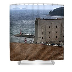 Man On The Roof In Dubrovnik Shower Curtain by Madeline Ellis