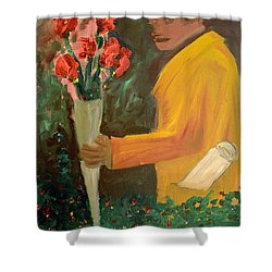 Man With Flowers  Shower Curtain by Bruce Stanfield