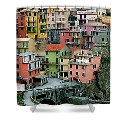 Manarola Houses On The Cinque Terre Shower Curtain by Greg Matchick