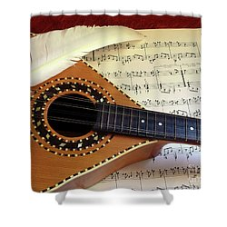 Mandolin And Partiture Shower Curtain by Carlos Caetano