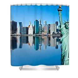 Shower Curtain featuring the photograph Manhattan Liberty by Luciano Mortula