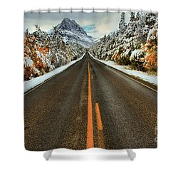 Many Glacier Road Shower Curtain by Adam Jewell