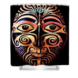 Shower Curtain featuring the sculpture Maori Mask by Michelle Dallocchio