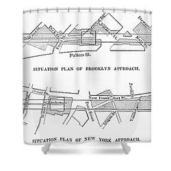 Map: Brooklyn Bridge Shower Curtain by Granger