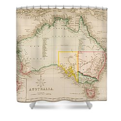 Map Of Australia And New Zealand Shower Curtain by J Archer