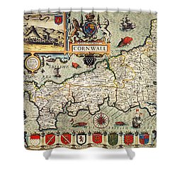 Map Of Cornwall Shower Curtain by John Speed