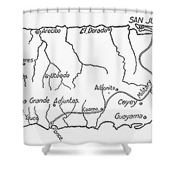 Map Of Puerto Rico, 1899 Shower Curtain by Granger