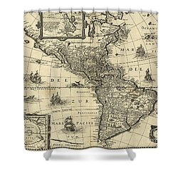 Map Of The Americas 1640 Shower Curtain by Photo Researchers