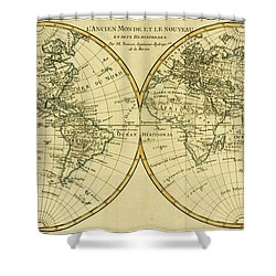 Map Of The World In Two Hemispheres Shower Curtain by Guillaume Raynal