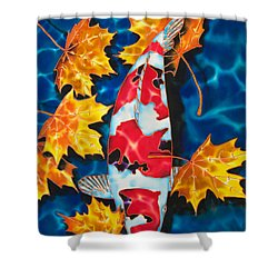Maple Leaves And Koi Shower Curtain by Daniel Jean-Baptiste