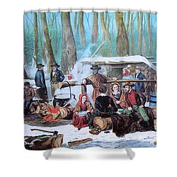 Maple Sugaring, 1872 Shower Curtain by Photo Researchers