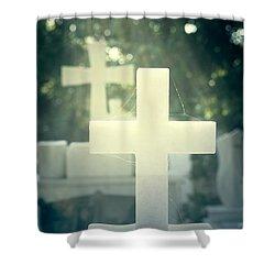 Marble Crosses Shower Curtain by Joana Kruse