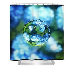Marbled Blue Hydrangea Shower Curtain