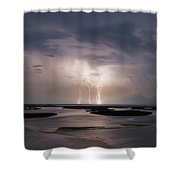 Marco Lightning Shower Curtain by Nick  Shirghio