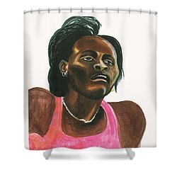 Maria Mutola Shower Curtain by Emmanuel Baliyanga