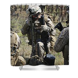 Marines Communicate With Other Elements Shower Curtain by Stocktrek Images