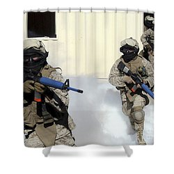 Marines Cross A Danger Area After Using Shower Curtain by Stocktrek Images