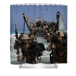 Marines Disembark A Landing Craft Shower Curtain by Stocktrek Images