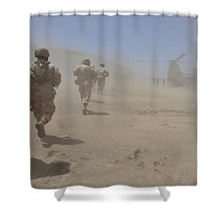 Marines Move Through A Dust Cloud Shower Curtain by Stocktrek Images