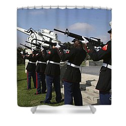 Marines Practices Drill Movements Shower Curtain by Stocktrek Images