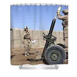 Marines Prepare To Fire A 120mm Mortar Shower Curtain by Stocktrek Images
