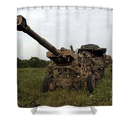 Marines Set Up A M198 155mm Howitzer Shower Curtain by Stocktrek Images