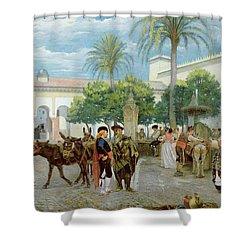 Market Day In Spain Shower Curtain by Filippo Baratti