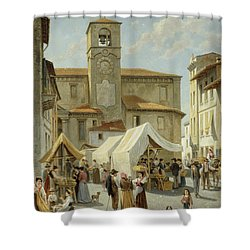 Marketday In Desanzano  Shower Curtain by Jacques Carabain
