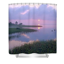 Marsh At Sunrise Over Eagle Bay St Shower Curtain by Tim Fitzharris