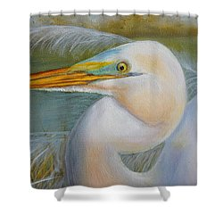 Shower Curtain featuring the painting Marsh Master by Marlyn Boyd
