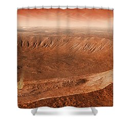 Martian Gullies In Noachis Terra, Mars Shower Curtain by Steven Hobbs