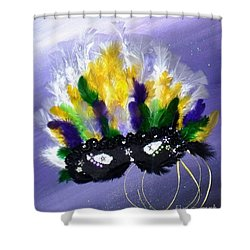 Shower Curtain featuring the painting Masque Over Bourbon Street by Alys Caviness-Gober