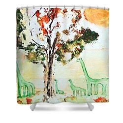 Shower Curtain featuring the painting Matei's Dinosaurs by Evelina Popilian