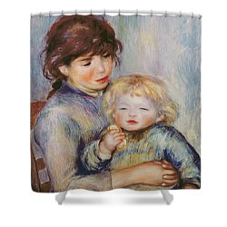 Maternity Or Child With A Biscuit Shower Curtain by Pierre Auguste Renoir