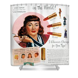 Max Factor Lipstick Ad Shower Curtain by Granger
