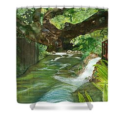 Shower Curtain featuring the painting Maya Ubud Tree Bali Indonesia by Melly Terpening
