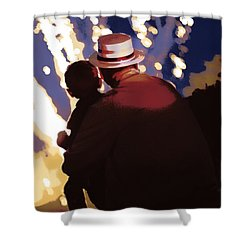 Me And Papa - 4th Of July Shower Curtain by Angela Rath