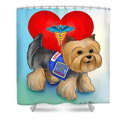 Medical Alert Yorkie Shower Curtain